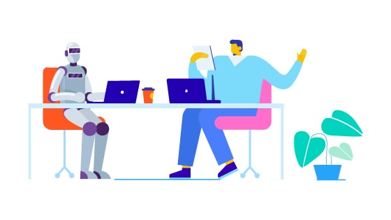 An illustration of a person and a robot sitting at a table, each with an open laptop in front of them.