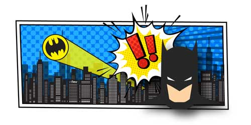 An illustration of Batman with a thought bubble displaying two exclamation marks. In the background, a city projects a batman symbol on the sky.