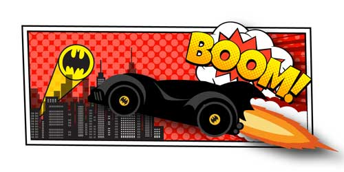 An illustration of the bat mobile going towards a city with the batman sign projecting on the sky. Text states: Boom!