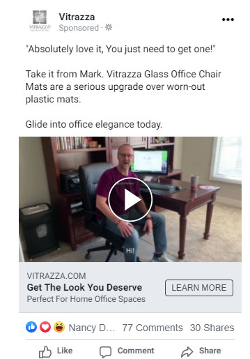A Vitrazza Facebook ad. Text at the top quotes Mark and briefly advertises the product. A video below the text features Mark. Text overlay is at the bottom of the video.