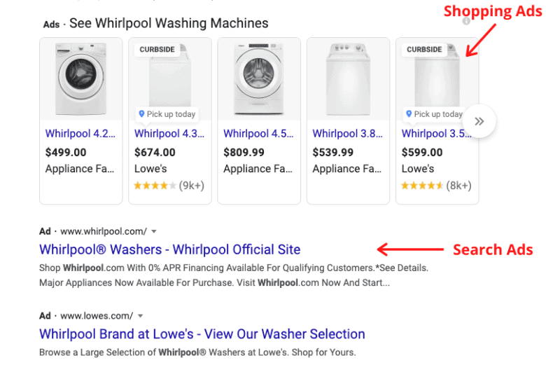 Two screenshots. The first, labeled Shopping ads, consists of a horizontal row of ads each with a photograph of the product and the price with no description of the product. The second, labeled Search ads, contains only text with a short description of the product.