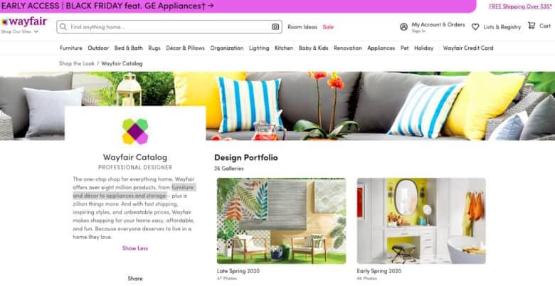 Wayfair online catalog
