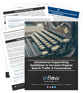 Report titled ecommerce Copywriting Guidelines to Increase Organic Search Traffic & Conversions. Logo: Inflow. Attract. Convert. Grow.