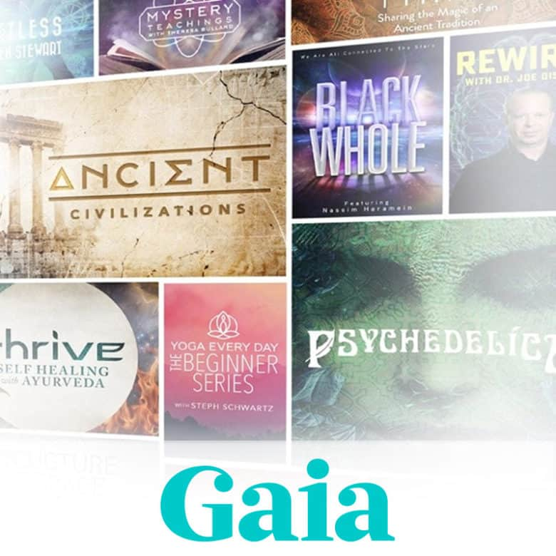 A collage of nine video title posters. Logo: Gaia.