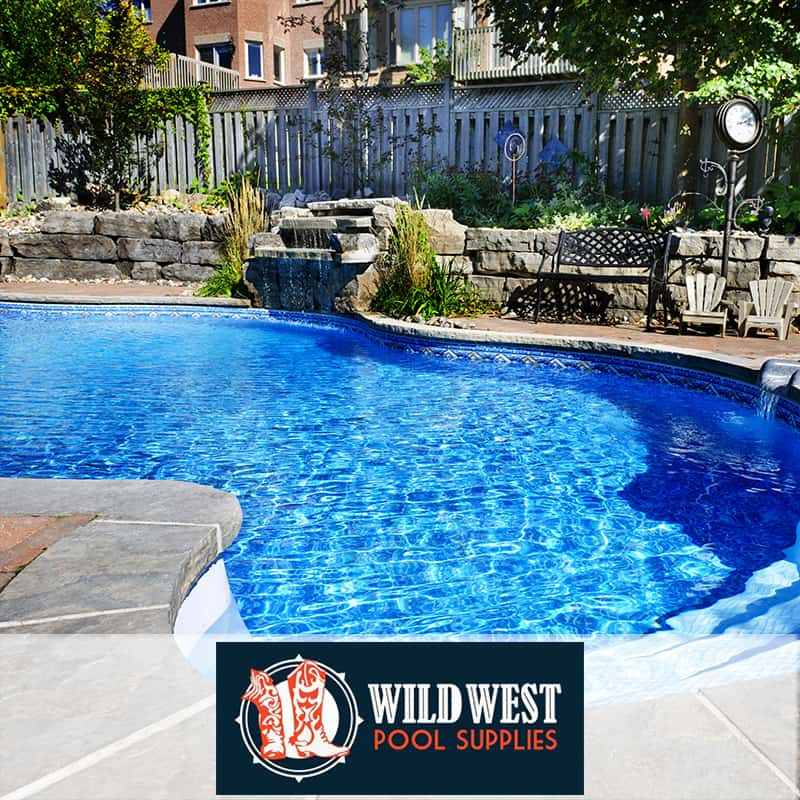 A photograph of a pool in a yard. Logo: Wild West Pool supplies.