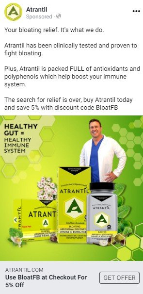 An Atrantil Facebook ad. Text discusses Atrantil's clinical testing and provides a discount code. Below the text, a photograph features the founder, Dr. Brown, overlaid by three packages of Atrantil. Text on the photograph states: Healthy gut equals healthy immune system.