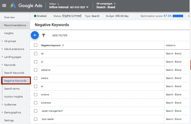 Google Ads webpage. In the left hand pane, the Keywords drop down list is displayed. Negative Keywords is highlighted.