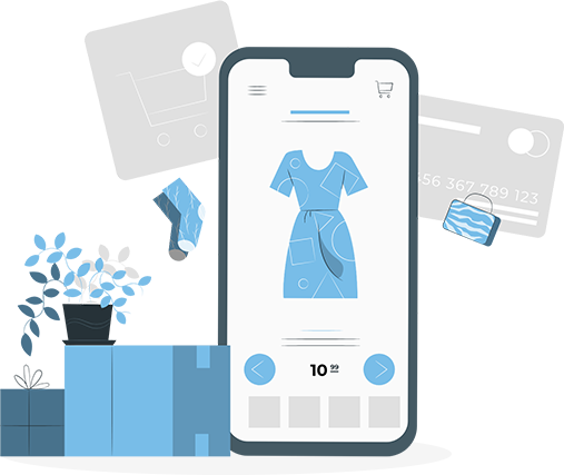 An illustration of a smartphone displaying a dress with the price. The phone is surrounded by a sock, a purse, a credit card, a shopping cart, boxes and a plant.