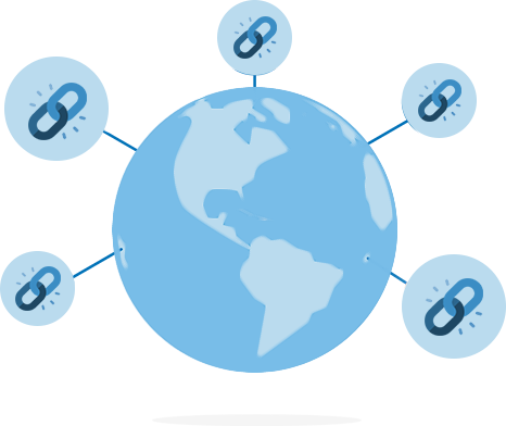 An illustration of a globe with link icons extending from different positions on the globe.