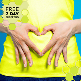 A photograph of a woman creating a heart-shape from her two hands over her abdomen. Text states: Free 2 day shipping.