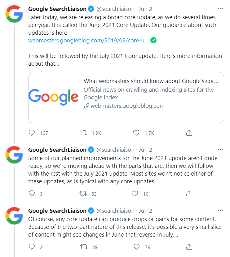 Three Google SearchLiason Twitter posts dated Jun 2. Each post discusses the June 2021 and July 2021 core update.