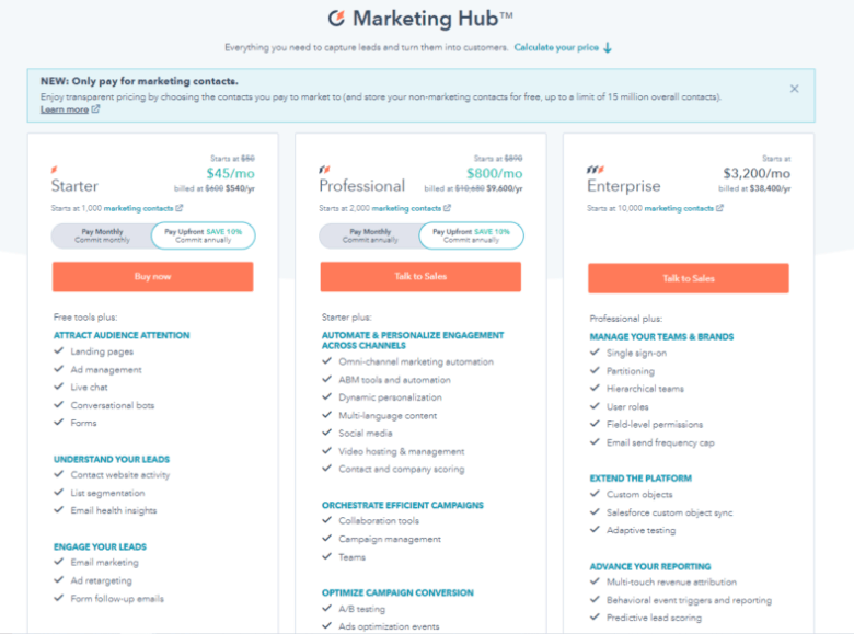 HubSpot pricing. Three tiers from left to right as follows: Starter /mo, Professional 0/mo, Enterprise ,200/mo. Each tier displays bullets of features supported in the pricing system.