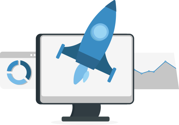 An illustration of a computer screen surrounded by a rocket ship and two graphs.