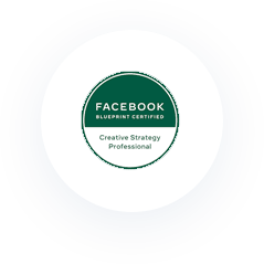 Icon: Facebook Blueprint Certified. Creative Strategy Professional.