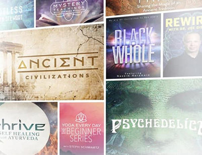A collage of nine video title posters.