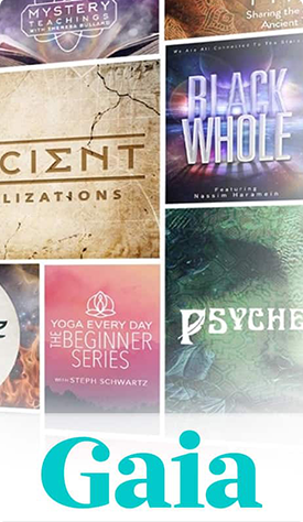 A photograph collage of 7 video title posters. Logo: Gaia.