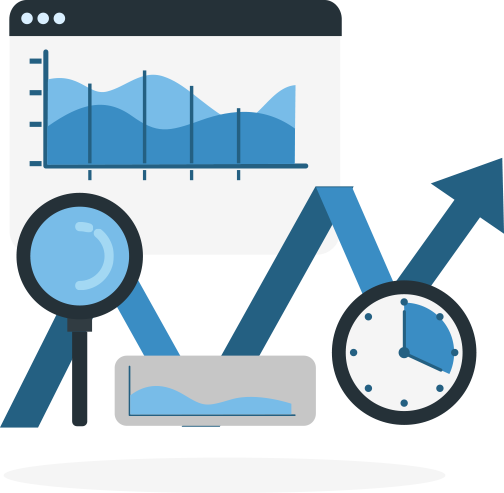 An illustration of two graphs, an increasing graph line, a magnifying glass, and a clock.