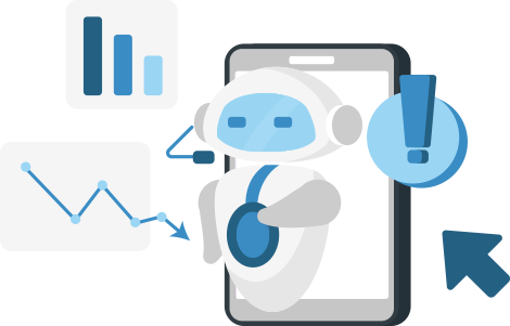 An illustration of a robot in front of a smartphone surrounded by two graphs and an explanation mark.