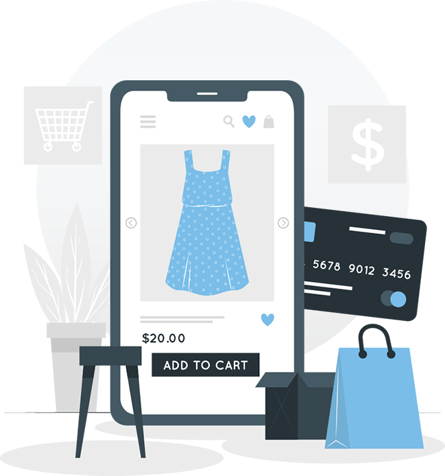 An illustration of a smartphone displaying a dress with the price and a button labeled Add to Cart. Surrounding the phone is a credit card, shopping bag, box, shopping cart, and money sign.