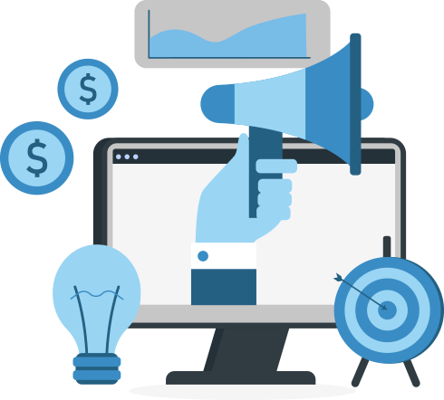 An illustration of an arm holding a bullhorn extending from a computer monitor. The monitor is surrounded by a bull's eye with an arrow at the center, a light bulb, coins and a graph.