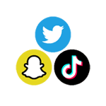 Icons for Snapchat, Twitter, and TikTok.