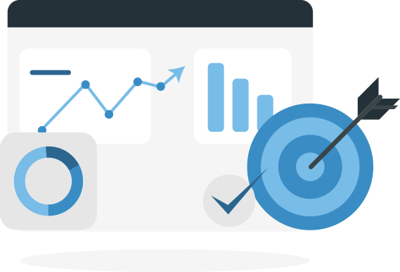 An illustration of a screen displaying three graphs and overlaid by a bull's eye and a checkmark.