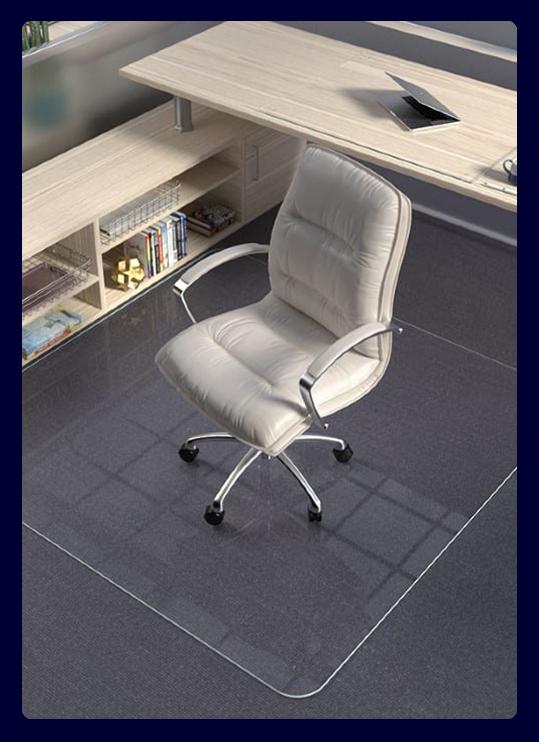A photograph of an office chair on a glass chair mat.