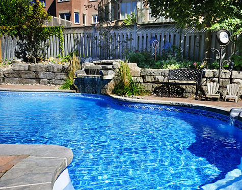 A photograph of a pool in a yard.