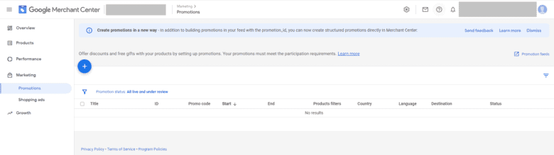 Google Merchant Center Promotions tab. In the left pane, Promotions is highlighted under the Marketing drop down list.