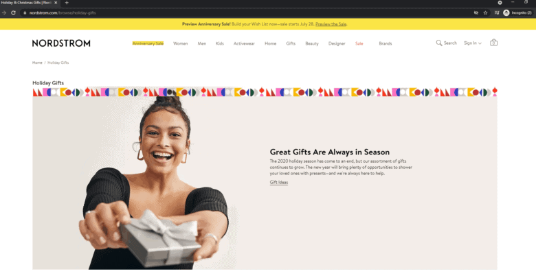 Nordstrom's Holiday Gifts landing page.