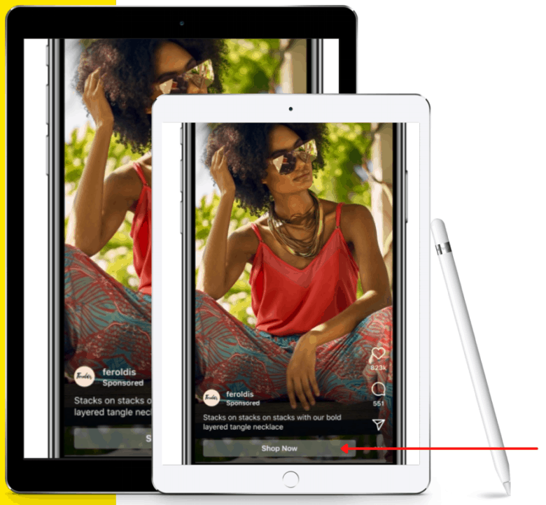 Two photographs of a tablet screen displaying an Instagram Reels Ad placement. At the bottom of the ad an arrow points to a button labeled Shop Now.