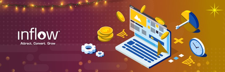 An illustration of a laptop displaying a report. Gears, coins, a bulls eye and a clock surround the laptop. Logo: Inflow. Attract. Convert. Grow.