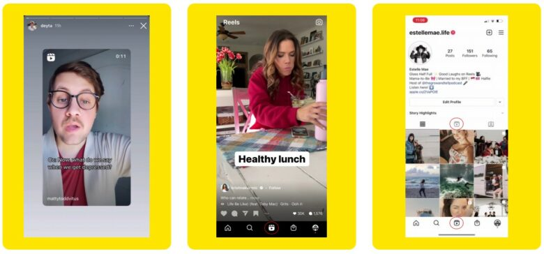 Three Instagram screenshots show three ways to display reels from left to right: Instagram Stories, Reels Tab, an icon on a user profile.