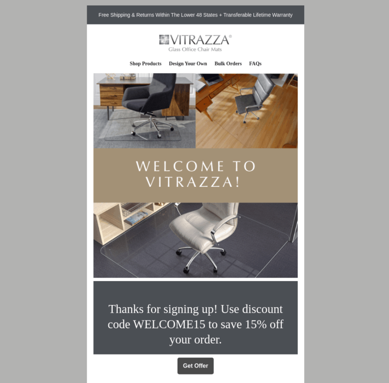 Vitrazza Welcome Email #1. Three photographs of the product. Text at the center of the photographs states: Welcome to Vitrazza! Text below the photographs states: Thanks for signing up! Use discount code Welcome15 to save 15% off your order. A button below this text labeled Get offer.