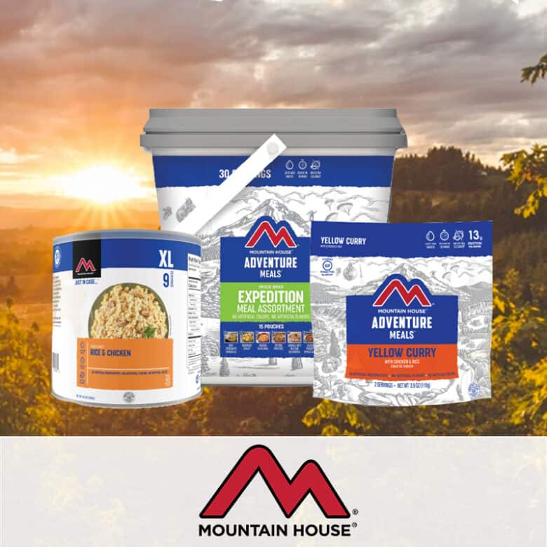 Mountain House Case Study. A photograph of three Mountain House meals overlaid on an outdoor scene.