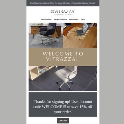 Vitrazza webpage. A banner at the center states: Welcome to Vitrazza! Text at the bottom states: Thanks for signing up! Use discount code Welcome15 to save 15% off your order. Below, a button is labeled Get offer.