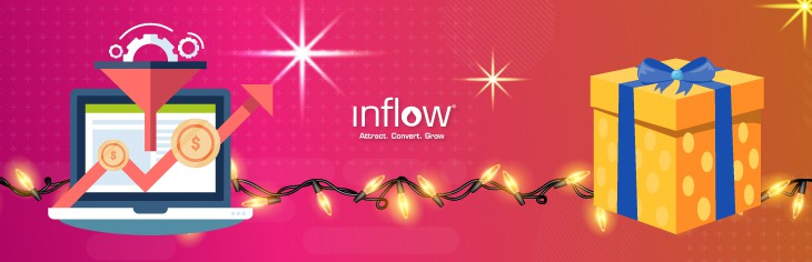 Illustration of laptop computer with sales funnel, connected by string lights to a yellow and blue wrapped box. Logo: Inflow.