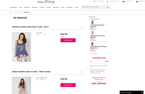 Wishlist function for Bras n Things, showing two featured pajama products saved to customer's account.