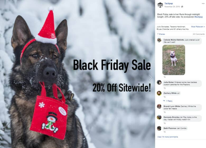 """Facebook post for Tactipup. German shepherd in the snow wearing a Santa hat and carrying a bag with a snowman in his mouth. Caption: """"Black Friday Sale 20% Off Sitewide!"""""""