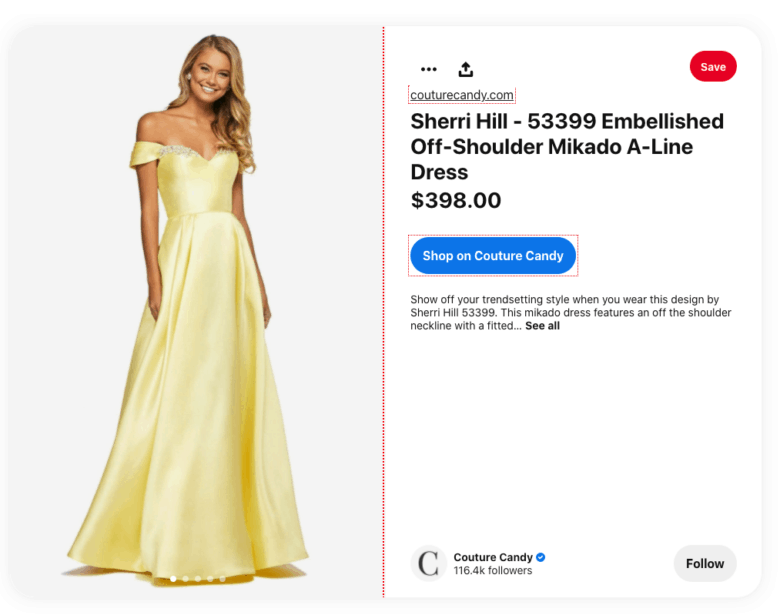 Couture Candy Pinterest ad. A photograph of a woman in an evening gown. Text on the right describes the dress and the price. Below the text a button is labeled Shop on Couture Candy.