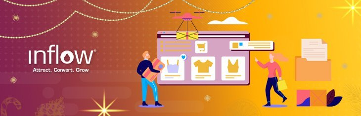 Illustration of human figures shopping from an eCommerce webpage selling apparel. Logo: Inflow.