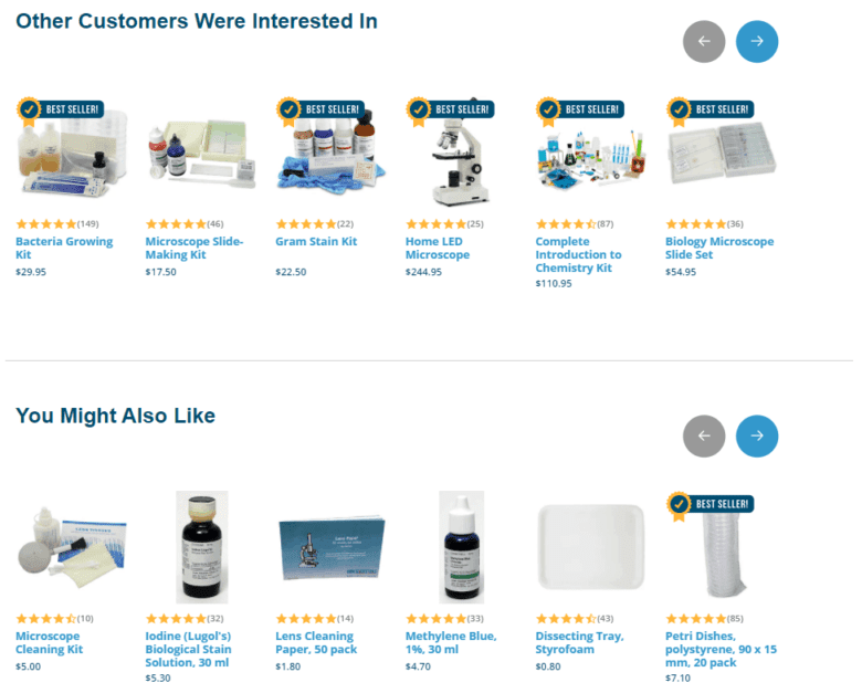 """""""Other Customers Were Interested In"""" product recommendations of home science kits. """"You Might Also Like"""" product recommendations of home science kits."""