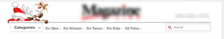 Seasonal element of Santa Claus and reindeer above website menu.