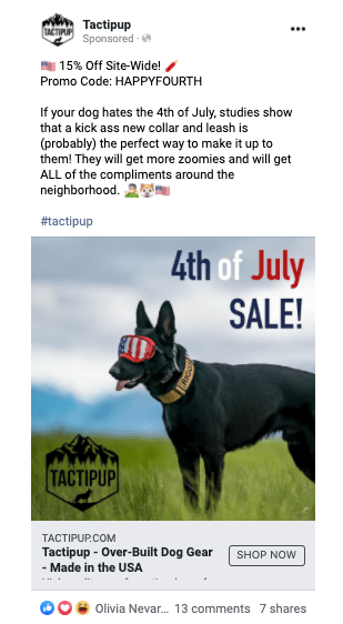 Tactipup Fourth of July social media holiday ad. Text at the top states 15% off site-wide. Promo Code: HappyFourth. Text then describes reasons to buy a collar for the 4th of July. Below, a photograph of a dog wearing a collar and goggles. Text on the photograph states 4th of July Sale! in red, white and blue lettering.