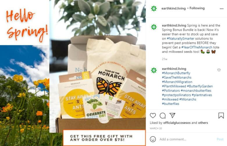 """Instagram post for Earthkind. Caption: """"Hello Spring! Get this free gift with any order over $75!"""". Gift basket of Earthkind pest control products laid over picture of orange poppies in a meadow."""