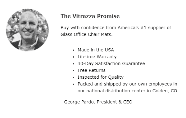 """Headshot of George Vitrazza, with personalized """"The Vitrazza Promise"""" for email marketing."""