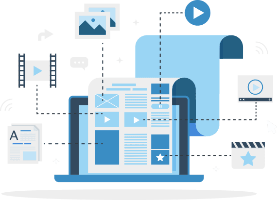 Illustration of laptop computer with document of email, text blocks, images, and video icons.
