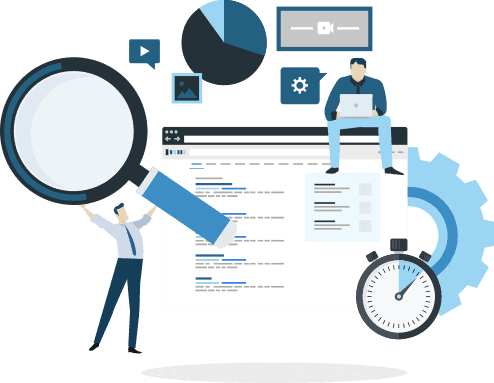 Illustration of a webpage. One figure holds a magnifying glass over the webpage. Another figure sits on top of the webpage bar, working on a laptop.