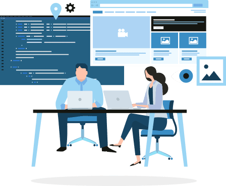 Illustration of two figures, one male and one female, working on laptops on a desk. Above them floats illustrations of website code, webpages, and image icons.