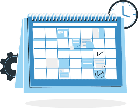An illustration of a calendar with a gear and a clock in the background. Checkmarks are made on different days of the calendar.